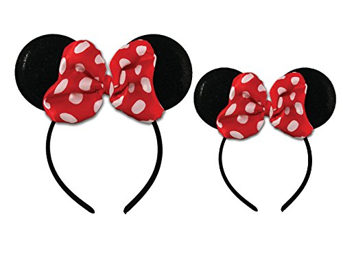 Disney Minnie Mouse Sparkled Ear Shaped Headband with Polka Dot Bow, Mommy and Me Set, Include One Adult Size and One for Little Girl Age -