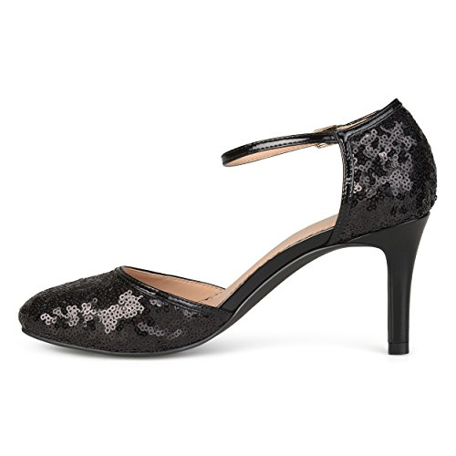 Collezione Journee Da Donna In Ecopelle Con Paillettes Paillettes Mary Janes Nere