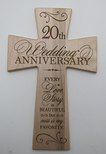 20th Wedding Anniversary Maple Wood Wall Cross Gift for Couple, 20 year Anniversary Gifts for Her, Twentieth Wedding Anniversary Gifts for Him (12x17)