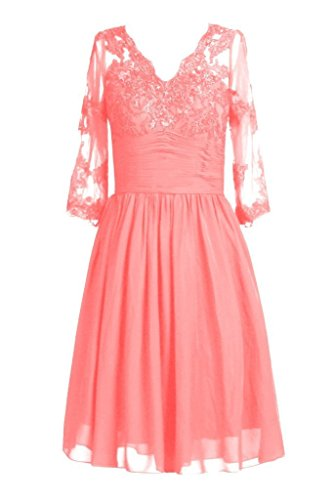 Spitzen Coral Kurz Sleeves Bride Women' the Rot Kleides Fanciest with of Neck Mother V 1Oy6t1wqxI