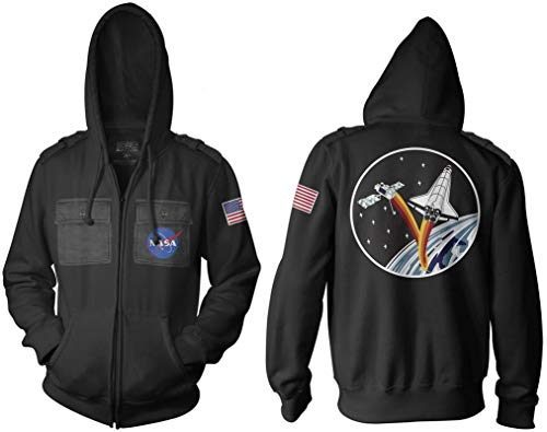 Ripple Junction NASA Adult Unisex Ship and Satellite Military Full Zip Hoodie XL Black