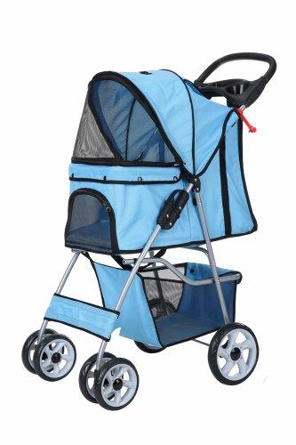 (Confidence Deluxe Folding Four Wheel Pet Stroller Sky Blue)