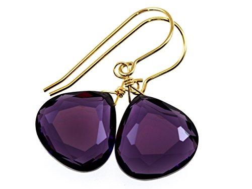 14k Yellow Gold Filled Deep Purple Simulated Amethyst Earrings Faceted Heart Teardrops Simple Briolette Dangle Drops
