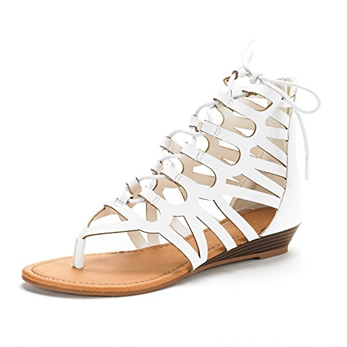 DREAM PAIRS Women's Taj White PU Ankle Strap Gladiator Flat Sandals Size 10 M US (Size White 10 Womens Sandals)