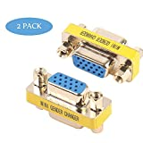 VGA Coupler, Benfei 2-Pack VGA/SVGA Adapter HD15 Female to Female Gender with Gold-Plated Cord
