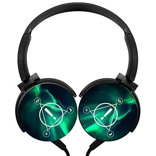 Pa-nic at The Disco Logo Wired Stereo Headphone Earphone Noise Cancelling Over Ear Portable Headset (Panic At The Disco Sound Of Music)