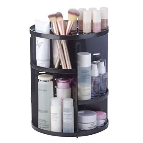 360 Degree Rotating Makeup Organizer Box Brush Holder Jewelry Organizer Case Jewelry Makeup Cosmetic Storage Box,Black