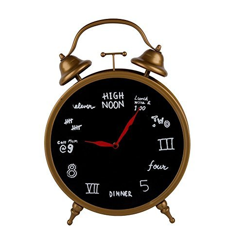 Brass Table Clock with Blackboard-Style Print