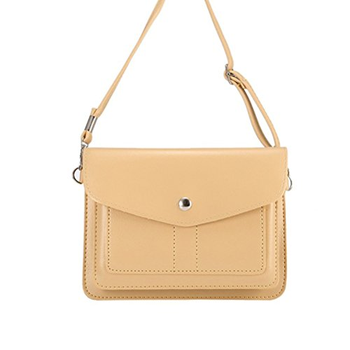 Beige Cell Phone - PU Leather Horizontal Cellphone Pouch Small Purse with Shoulder Strap and Magnetic Closure Under 6.9 Inch Cell Phone Bag Beige