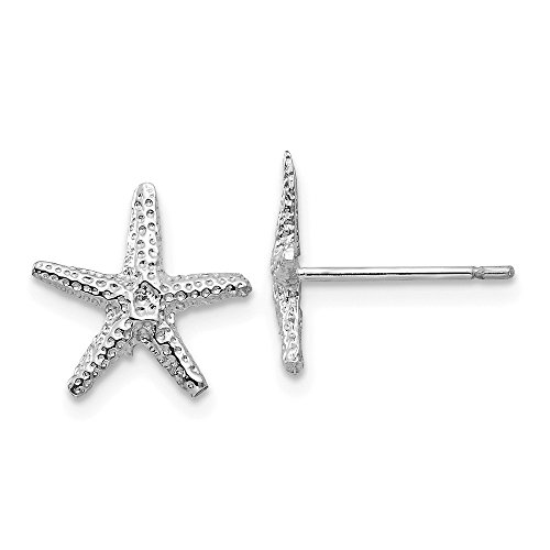 White Gold Starfish Earrings (Perfect Jewelry Gift 14k White Gold Starfish Post Earrings)