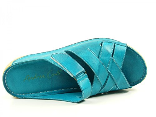 Andrea Conti 0799206 Schuhe Damen Sandalen Comfort Keil Pantoletten Grün