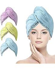ACWOO Haarhanddoek Wraps, 3 Pack Haar Droge Caps, Zachte Microfiber Haar Drogende Handdoek, Super Absorberend Sneldrogende Haar Tulband, Upgrade Verlengen en Dikken