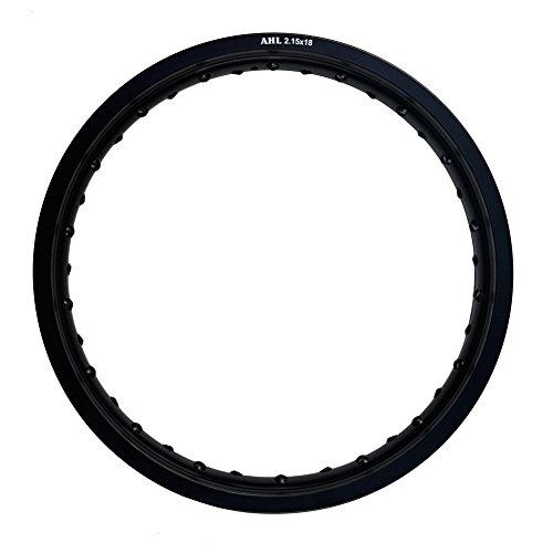 "AHL Motorcycle Front / Rear Rim 6061 Aviation Aluminum Wheel Circle (2.15x18"",Black)"