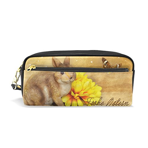 Bunny Stationery Easter (LEISISI Easter Bunny School Pencil Bag PU Leather Stationery Pouch Case Women Cosmetic Bag Large Capacity)