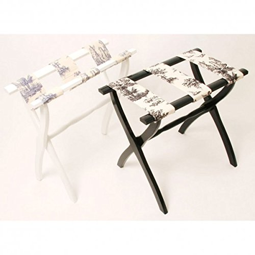 Luggage Rack with Curved Legs Ebony Black Toile by Gate House Furniture