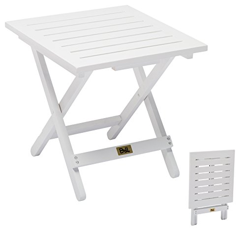 Wood Folding Patio Side Table for Adirondack Chairs Outdoor Small End Table Portable Little Table for Porch, Yard, Garden - Adirondack Bench Garden