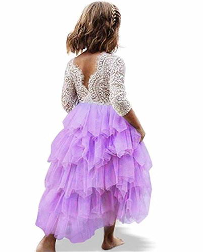 Toddler Baby Flower Girls Princess Tulle Dress Lace Backless Tutu A-line Beaded Party Dresses Purple]()