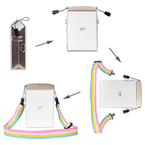 Fintie Protective Clear Case for Fujifilm Instax Share SP-2 Smart Phone Printer - Crystal Hard PVC Cover with Removable Rainbow Shoulder Strap, Clear