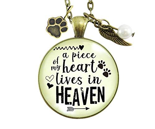 """24"""" Pet Memorial Necklace A Piece Of My Heart Gift Angel Wing Paw Charm Cat Dog Remembrance Jewelry For Women"""