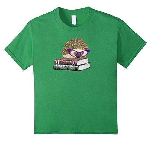 Kids Adorable Hedgehog Book Nerd Tee Shirt 12 (Mens Hedgehog)
