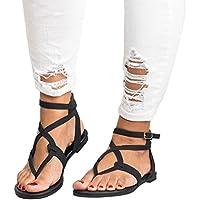 Women Cross Strap Flat Sandals Low Bottom Flip Flop Shoes Size 9 Beach Slippers Hemlock (US:8.5, Black)