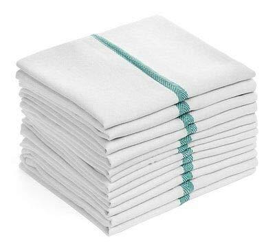 Barber Stripe - USA_Best_Seller 24 New 100% Cotton Herringbone Green Stripe Dish Towels Home Kitchen Hotel Motel Restaurant Cafe Lint Free Barber Chefs Soft Absorbent