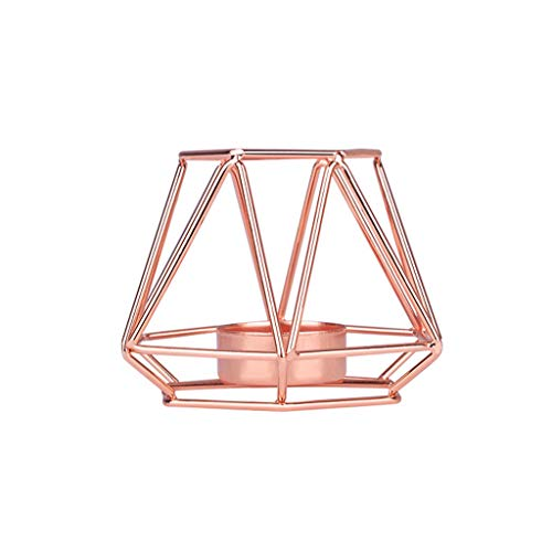 MSOO Nordic Style Wrought Iron Geometric Candle Holders Home Decoration Metal Crafts (Rose Gold, S:8.5x6.5x8.1cm) ()