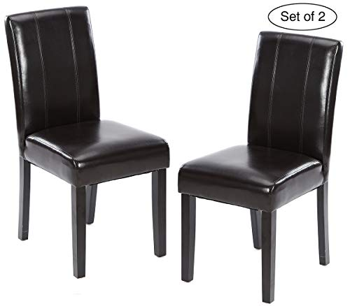 Set of 2 Kitchen Chairs with Solid Wood Legs ZXBSWELE Easy-to-Clean Urban Style Dining Chair for Kitchen, Living Room, Dining Room, Leatherette, Black - Lacquer Dining Table Set