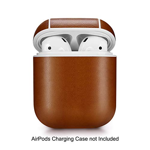 (ZALU Compatible for AirPods Case with Keychain, Leather Full Protective Cover Skin for AirPods Charging Case 2 & 1 [Front LED Not Visible](Dark Brown))