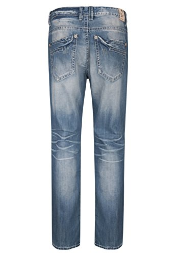 BLUE MONKEY Used-Wash Slim-Fit Jeans mit dicker Naht Freddy 4288 Herren 1001220