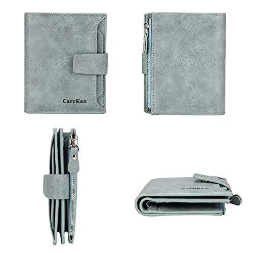c7bd848ae8e4 TJEtrade Small Wallets for Women Bifold Slim Coin Purse Zipper ID Card  Holder (Unisex Style-Blue)