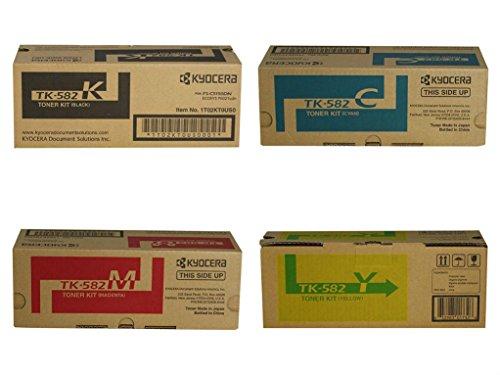 Kyocera TK582 (TK-582) 4-Color Toner Cartridge Set for P6021cdn, FS-C5150dn ()