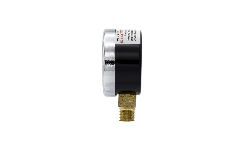Brass Internals and Plastic Lens 1//8 Male NPT Connection Size Bottom Mount Dry Pressure Gauge with a Black Steel Case PIC Gauge 101D-158G 1.5 Dial 0//200 psi Range Chrome Bezel