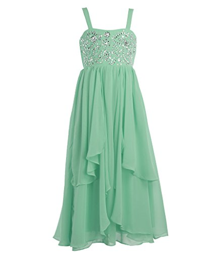 FAIRY COUPLE Big Girl's A-line Asymmetric Ruffles Beaded Long Flower Girl Dress K0116 10 Mint (Green Fairy Dress)