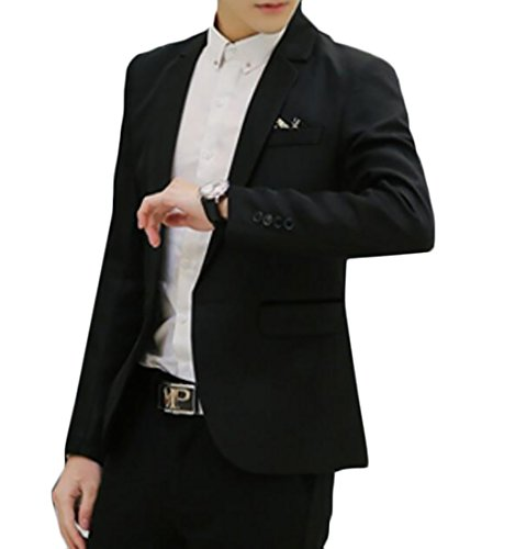 Pivaconis Mens Fashion One Button Solid Slim Fit Flap Pocket Blazer Sport Coats Black US 3XL