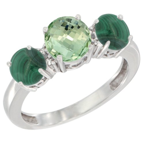 14K White Gold Round 3-Stone Natural Green Amethyst Ring & Malachite Sides Diamond Accent, size 8