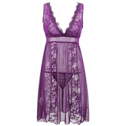Solid Sleepshirt - Trendy Sexy Women Sleepshirts Sleeveless V Neck Nightgowns Solid Lace Mesh Transparnet Patchwork Dress(Lavender,S)