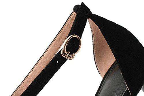 Simples À Chaussures Stiletto Véritable Mode La Femmes Sweet Coréenne Zsshj Fashion New Version En Sandales Ouvert Orteil D'été Style Sexy Élégant Cuir Noir Jazs® x8RAv