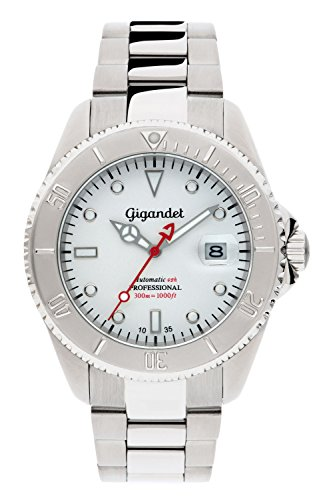 Gigandet Men's Automatic Pro Diver Watch Sea Ground Analog Stainless Steel 30atm Silver White G2-015