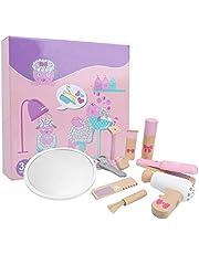 Kids Makeup Kit, Wooden Girls Beauty Salon Set, 10 PCS Fashion Pretend Play Hair Styling Set, Beauty Hair Toy, Kids Hair Cutting Makeup Set with Toy Hairdryer, Mirror(Pink)