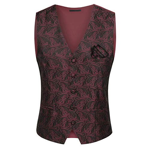 - PAUL JONES Mens Gothic Steampunk Vest Waistcoat Velvet Jacquard Tailcoat PJ1063-2 2XL Wine Red