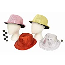 Sequin Trilby Style Party Hat - Fancy Dress - 1 Colour Selected At Random