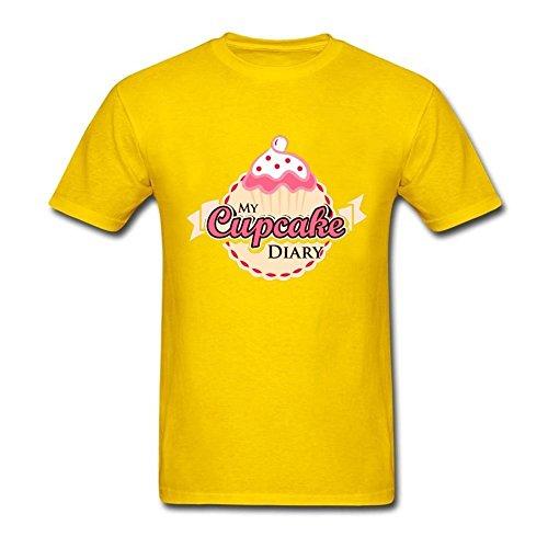 Tee Center My Cupcake Diary Tees Men's Round Collar Yellow M
