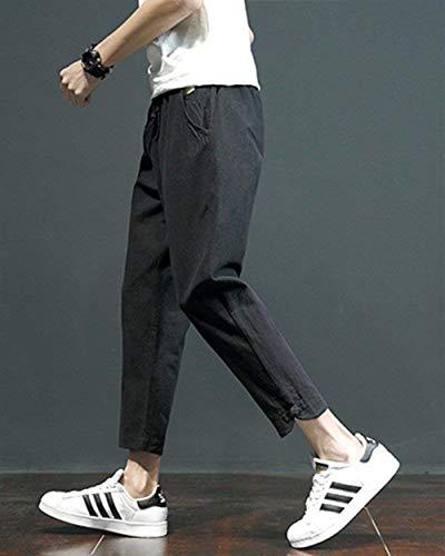 Da Con Huixin Larghi Laterali Harem Casual Uomo Pantaloni Tasche Comodi Nero Leggero Lino E Skinny Di EEzqUfr7n