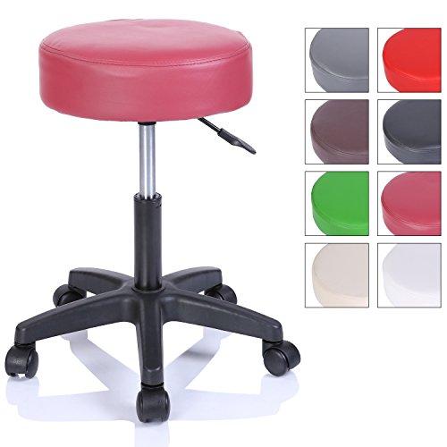 Rollhocker Arbeitshocker Hocker Drehhocker Kosmetikhocker Praxishocker höhenverstellbar mit Rollen, 360° drehbar, 10 cm Polsterfläche und 8 Farbvarianten (Weinrot)