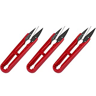3 Pcs Premium Sewing Scissors, Mini Small Trimming Nippers, 4.2-inch Yarn Thread Snip cutter, Stainless Steel Embroidery Clippers, Great for Stitching, DIY, Plants, Craft. (Elegant Red)
