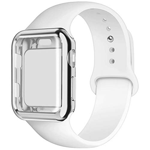 (YC YANCH Compatible for Apple Watch Band with Screen Protector 42mm, Silicone Sport Strap Replacement Wristband with Apple Watch Case Compatible with iWatch Apple Watch Series 1/2/3, S/M White)