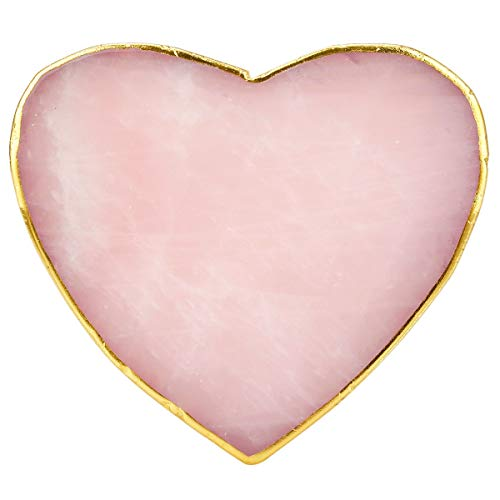 (rockcloud 1 PC Gold Plated Edge Rose Quartz Crystal Stones,Coasters Cup Mat, Home Decoration Healing Crystals Collection, Heart Shape)