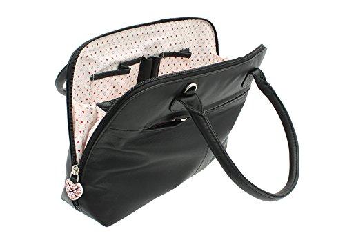Mala Leather Colección LUCY Bolso Bolera de Cuero Suave con Correa de Hombro 750_30 Gris Negro