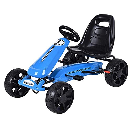 Pedal Car,Pedal Go Kart,Ride On Toy with Clutch for Boys & Girls, Brake, EVA Rubber Tires, Adjustable Seat (Blue) ()